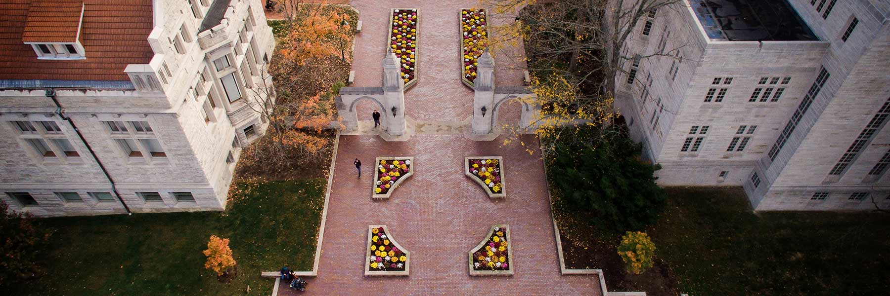 Aerial view of the historic Sample Gates on the Indiana University Bloomington campus.