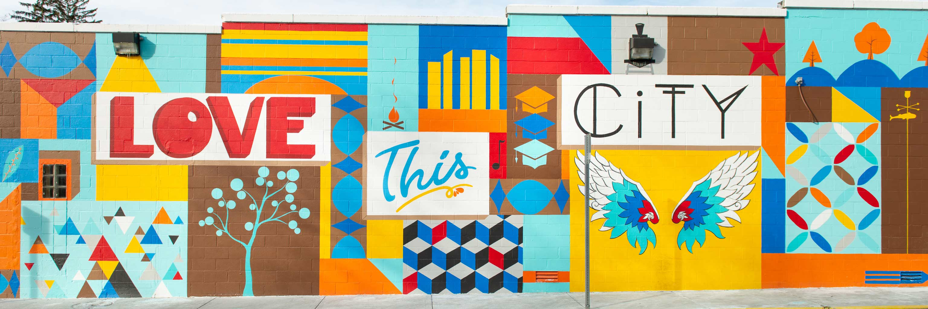 "The ""Love this city"" mural located in downtown Bloomington, Indiana."