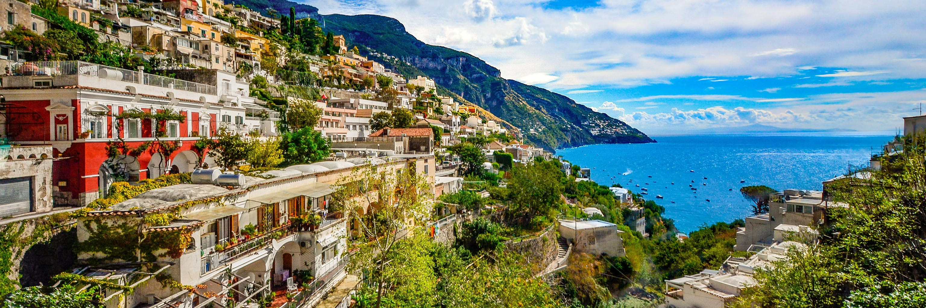 Colorful hillside overlooking the water in Salerno, Italy.