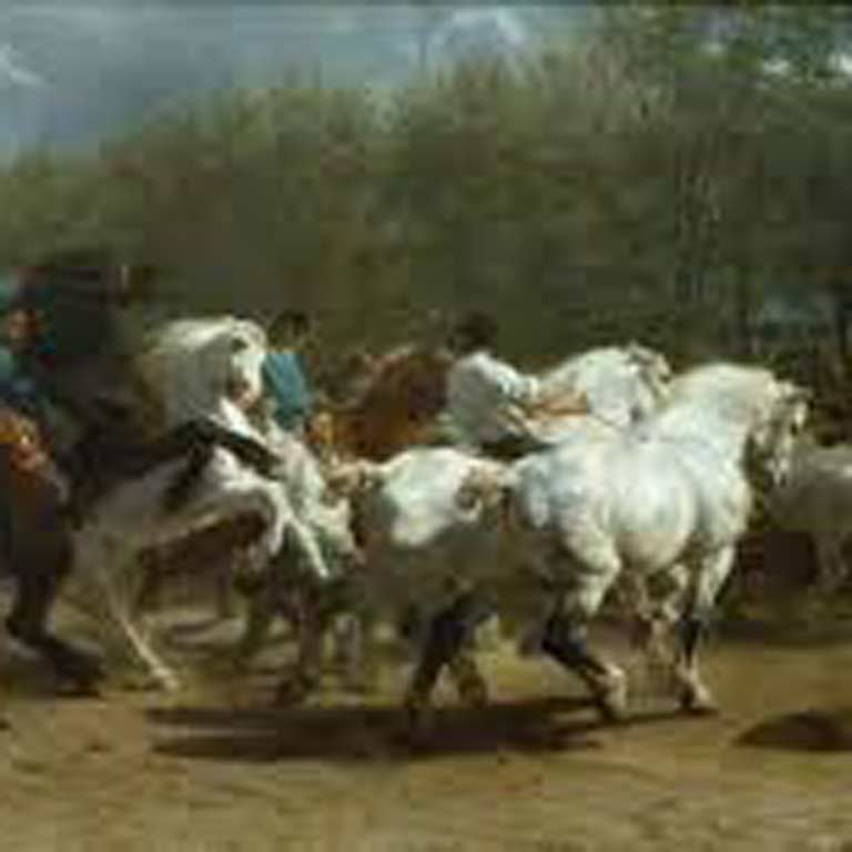 Painting of men riding horses.