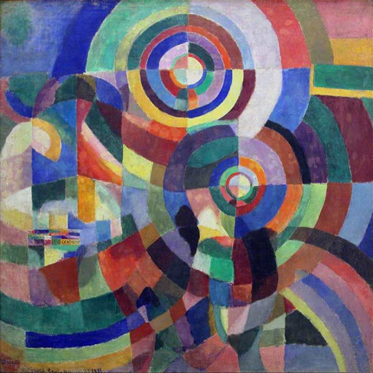 A colorful geometric pattern designed by artist Sonia Delaunay.