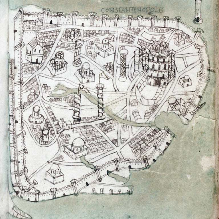 "Drawn map of ""Constantinopolis."""