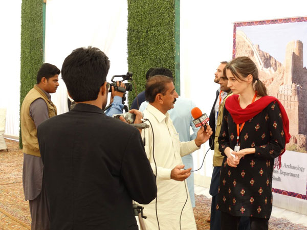 Graves being interviewed by media in Pakistan